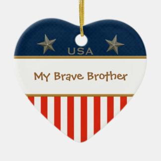 My Brave Brother Patriotic Heart Frame Ceramic Heart Decoration