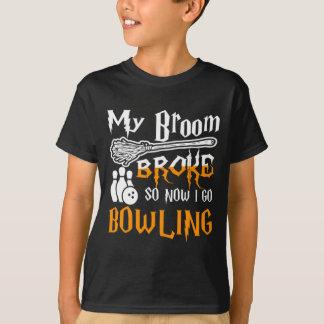 My Broom Broke So Now I Go Bowling Halloween Shirt