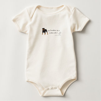 my brother is a rottweiler-more dog breeds baby bodysuit