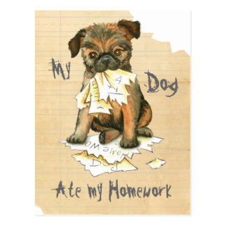 My Brussels Griffon Ate My Homework Postcard