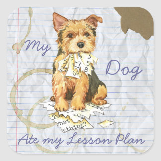 My Bull Terrier Ate My Lesson Plan Square Sticker