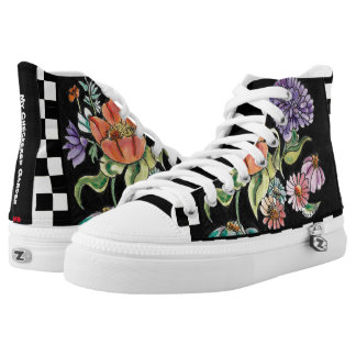 """""""My Checkered Garden"""" High Tops Printed Shoes"""