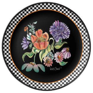 """My Checkered Garden"" Porcelain Ceramic Plate"