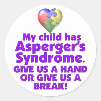 My Child Has Asperger's Classic Round Sticker