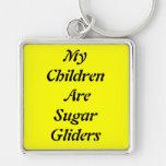 My Children Are Sugar Gliders Silver-Colored Square Key Ring