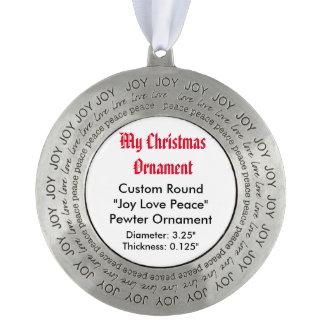 My Christmas Custom Joy Love Peace Pewter Ornament Round Pewter Ornament