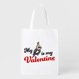 My Cockatiel Is My Valentine Reusable Grocery Bag