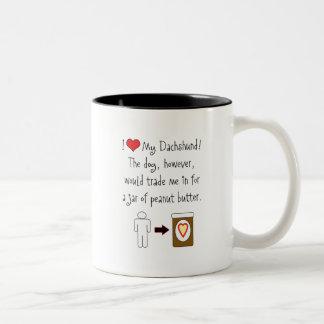 My Dachshund Loves Peanut Butter Coffee Mugs