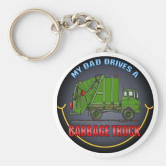 My Dad Drives A Garbage Truck Green Key Chain