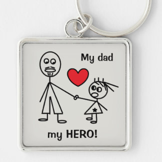 My dad my HERO Cute Keychain for Dads