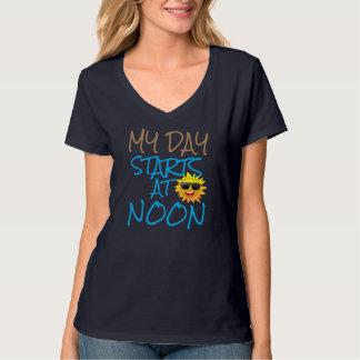 my day starts at noon funny fun loving lazy tshirt