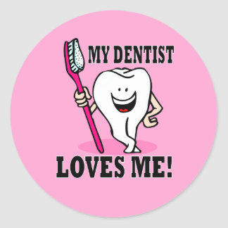 My Dentist Loves Me Classic Round Sticker