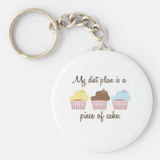 My diet plan is a A Piece Of Cake Keychains