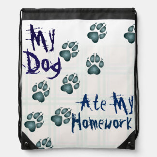 """My Dog Ate My Homework"" Doggie Paw Prints - Aqua Drawstring Bag"