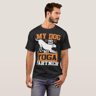 My Dog is My Yoga Partner - White and Orange T-Shirt