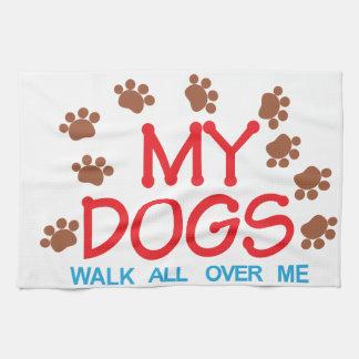 My Dogs Walk Tea Towel