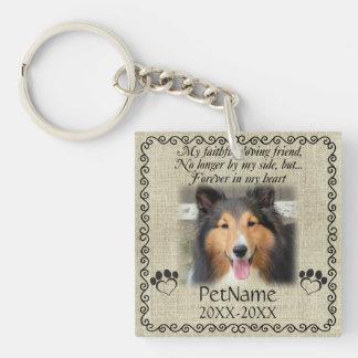 My Faithful Friend Pet Sympathy Custom Burlap Double-Sided Square Acrylic Key Ring