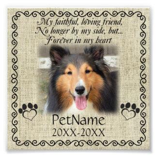 My Faithful Friend Pet Sympathy Custom Burlap Photo Art