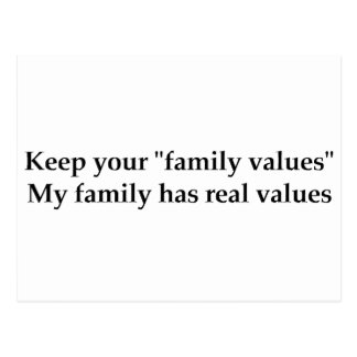 My family has real values postcard