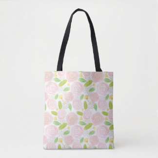 My Fav Pattern: Watercolor Roses & Leaves Tote Bag