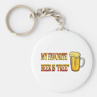 My Favorite Beer is Free Basic Round Button Key Ring