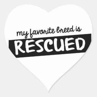 My Favorite Breed is Rescued Heart Sticker
