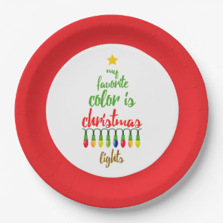 My Favorite Color is Christmas Lights Paper Plate