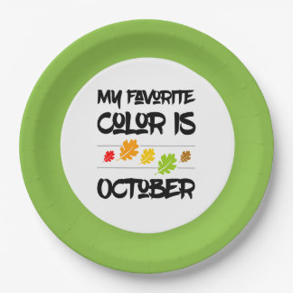 My Favorite Color is October Autumn Leaves Paper Plate