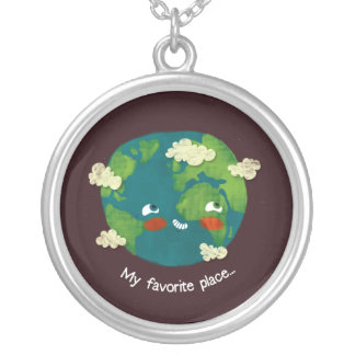 My favorite place round pendant necklace