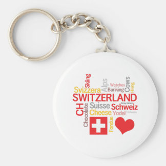 My Favorite Swiss Things Funny Basic Round Button Key Ring
