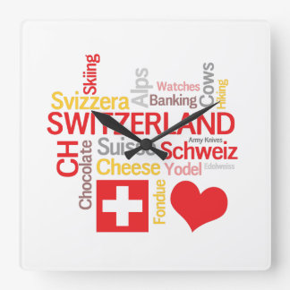 My Favorite Swiss Things Funny Square Wall Clock