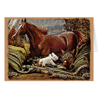 """My Favorite Things"" Cat with Toy Horses Card"