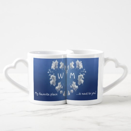 My Favourite Place Cloud Heart Monogram Coffee Mug Set