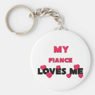 My Fiance Loves Me Basic Round Button Key Ring