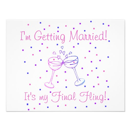 My Final Fling T-shirts and Gifts Custom Invites