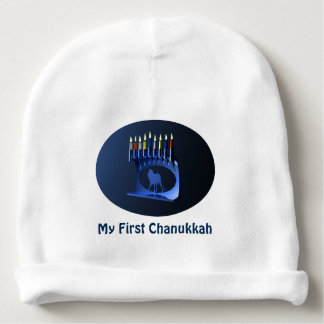 My First Chanukkah - Shiny Blue Menorah Baby Beanie