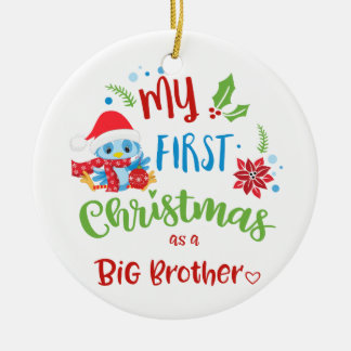 My First Christmas as a Big Brother photo / year Ceramic Ornament