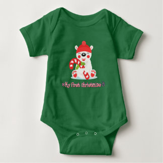 My First Christmas Baby Bear Baby Bodysuit