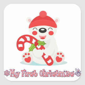 My First Christmas Baby Bear Square Sticker