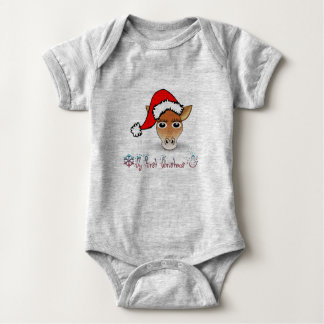 My First Christmas Baby Giraffe Baby Bodysuit