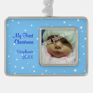 My First Christmas Baby Photo Ornament Blue Snow