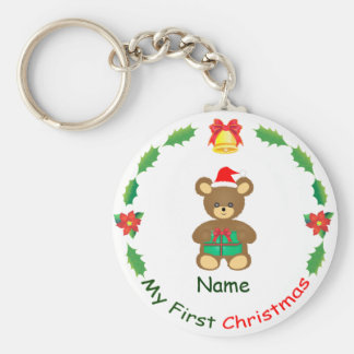 My First Christmas Basic Round Button Key Ring