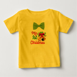 my first christmas candy cane bow tie shirt design