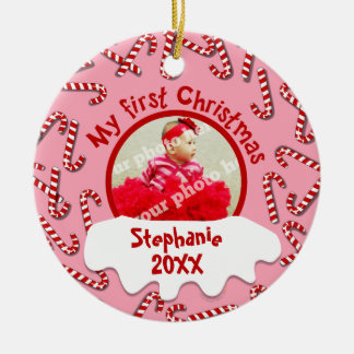 My First Christmas Candy Canes Pink Custom Photo Ceramic Ornament
