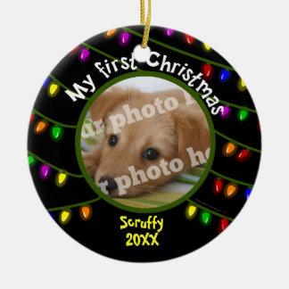 My First Christmas Custom Pet Photo Fun Lights Round Ceramic Decoration