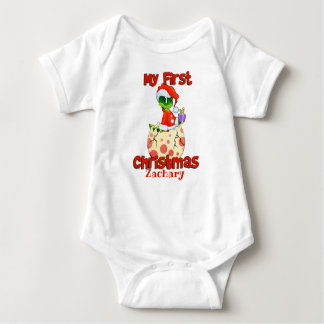 My First Christmas Dinosaur Baby Bodysuit