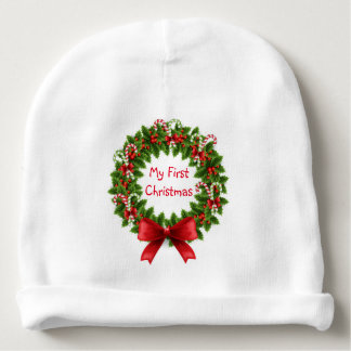 My First Christmas Infant Hat/Wreath Baby Beanie