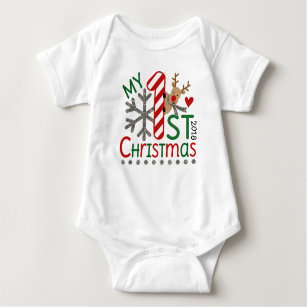 Reindeer Initial First Christmas Onesie Shirt or Bib Milestone Personalized Baby Outfit