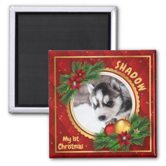 My First Christmas Pet Photo Holiday Keepsake Magnet