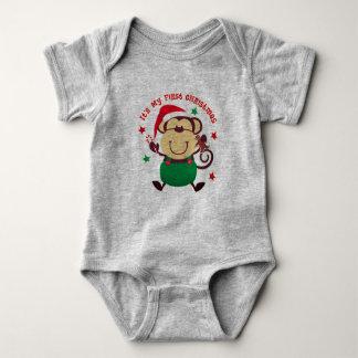 My First Christmas Santa Monkey Baby Bodysuit